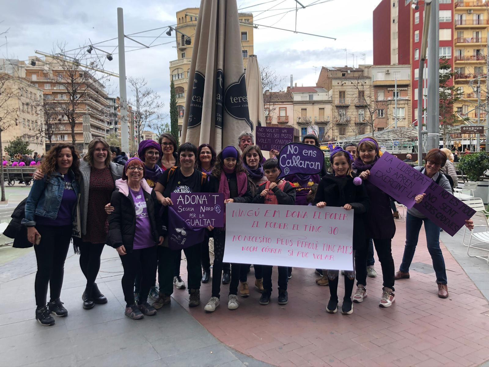 Presència d'Adona't a la manifestació del 8M de 2020 a Lleida