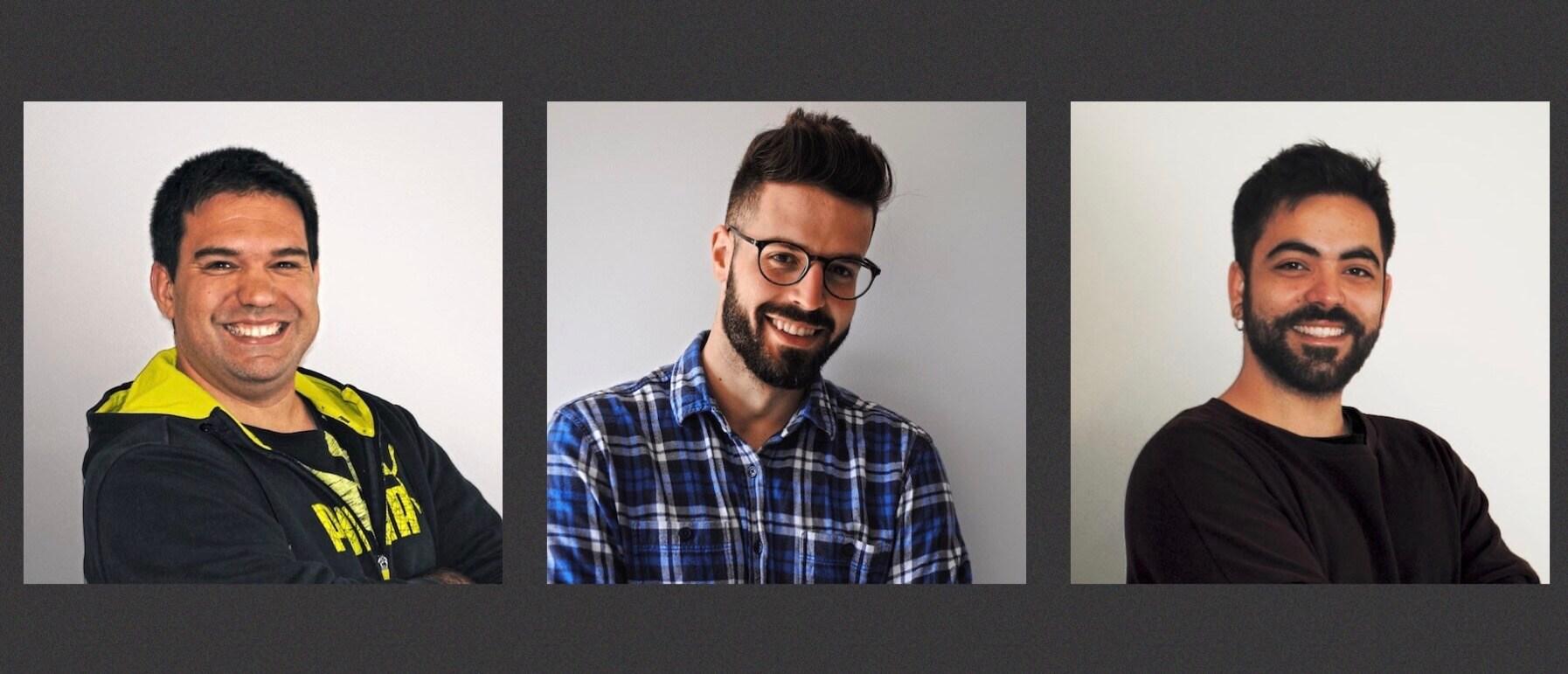 Resta d'equip d'Slowcode: Jordi Masferrer, Joey Masip i Pau Vila.