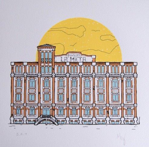 Il·lustració serigrafiada de la col·lecció Arquitectura Oblidada de Nus Creacions