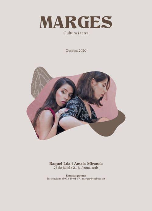 Cartell concert Raquel Lúa i Amaia Miranda al Festival Marges de Corbins