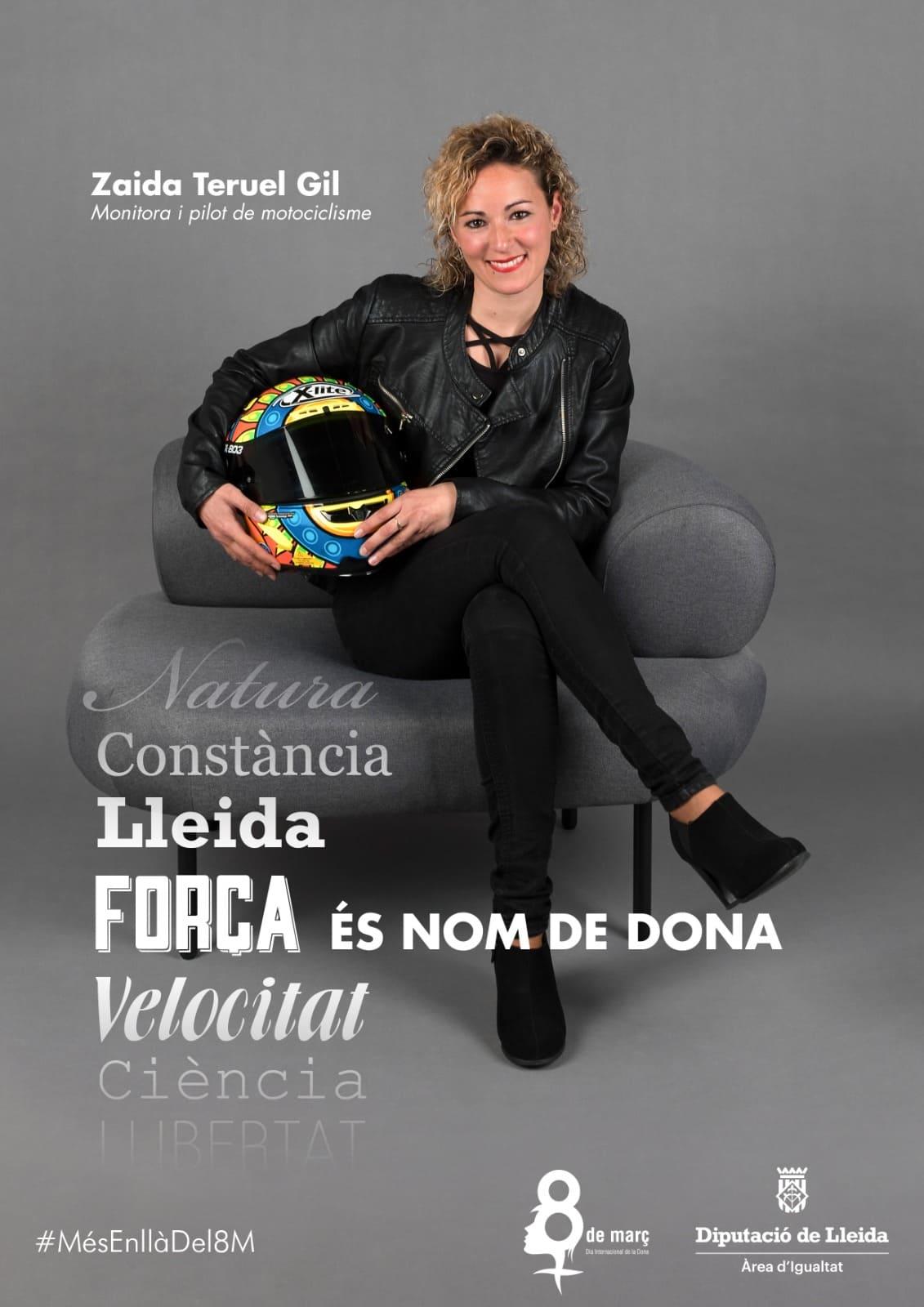 Zaida Teruel Gil, pilot motociclisme, campanya Nom de dona de la Diputació de Lleida